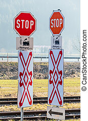 stop signs railway crossing whistle, symbol of rail...