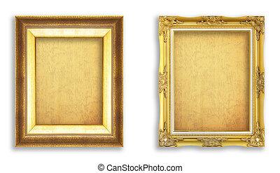 gyllene, sätta,  grunge, foto, ram, papper, bild, din, tom