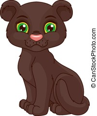 Panther cub - Cute black panther cub cartoon on a white...