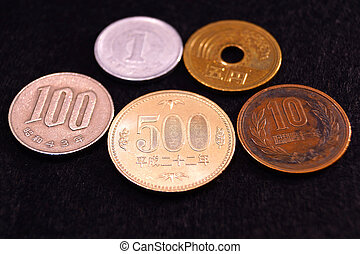 close - up japanese currency yen coin