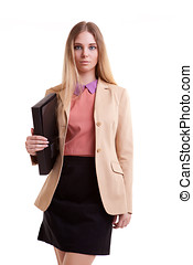 Business person with folder in hand isolated over white...