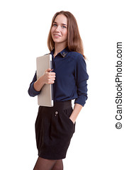 Smiling student with notebook in hands