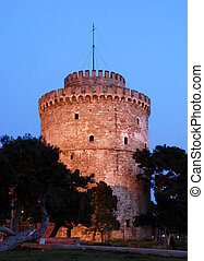 White tower is the symbol of Thessaloniki city in Greece...