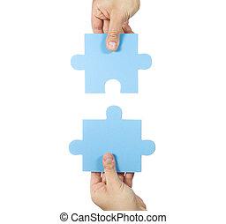 Puzzle, mains, connecter, deux, morceaux