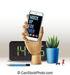 Workspace mock up with phone, vector illustration