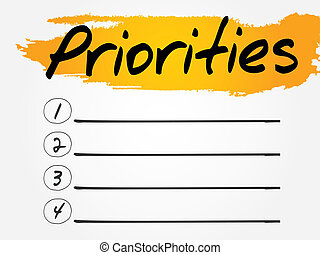 Priorities Blank List, vector concept background