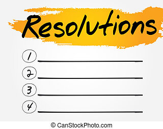 Resolutions Blank List, vector concept background