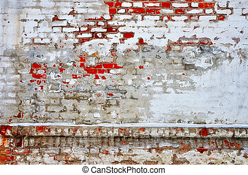 Old brick wall - Ancient red bricks white stucco damaged...