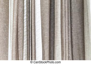 blanc, et, gris, rideaux, à, les, fenetres,