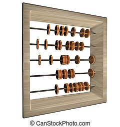 Abacus with coins, isolated over white, 3d render, square...