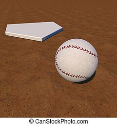 Baseball near a base, over field, 3d rendfer, square image