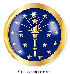 Indiana Flag Button - Indiana state flag button with a gold...