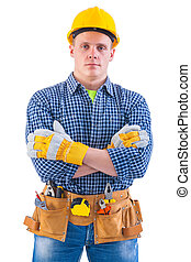 portrait of young men wearing working clothes with tools...