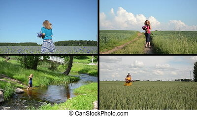 girl leisure collage - Girl with flower bouquet in...