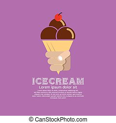 Ice Cream Cone. - Ice cream cone vector illustration.