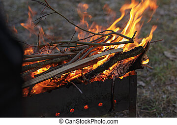 charcoal preparation for bbq in mangal, fire