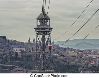 Torre Jaume I funicular with two cableway cars, Barcelona...