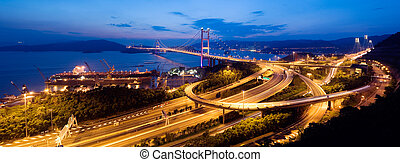 panoramic night scenes of Tsing Ma Bridge in Hong Kong