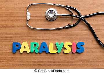 paralysis colorful word on the wooden background