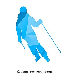 Abstract blue geometric skier woman