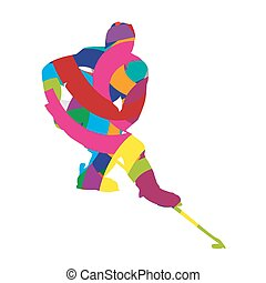 Abstract colorful ice hockey player
