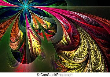 F, -, diagonal, Colección, multicolor, asimétrico, Fractal,...