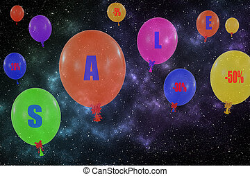 Flying group of balloons in the night sky Concept of sale...