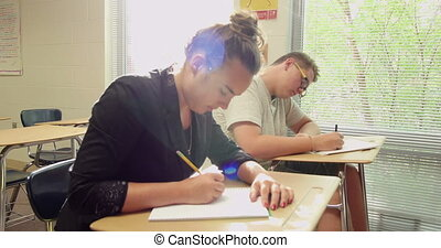 Students doing their school work