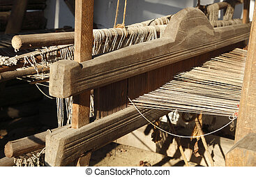 Hand Weaving loom detail - Detail of a traditional wooden...
