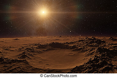 Mars Scientific illustration - planetary landscape far away...