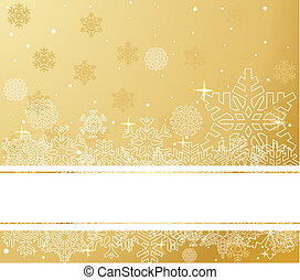 Gold Christmas Background - The white snowflakes on top and...