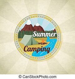 Camping landscape with tent and bonfire, retro vector
