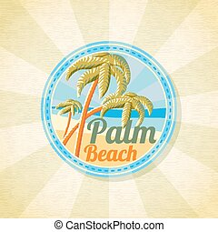 Summer palm beach retro background. Vector