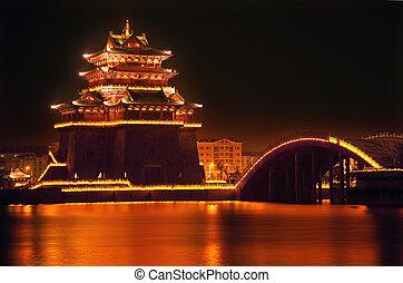 Ancient Temple Night Reflection Bridge Jinming Lake Kaifeng...