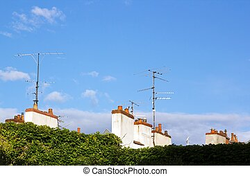 antennas and chimneys (France Europe).