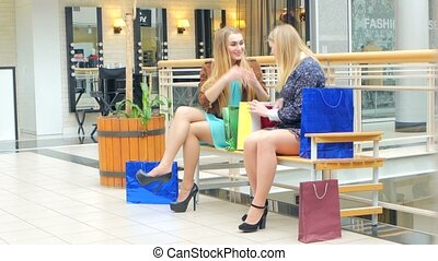 Two young women sitting with shopping bags and smiling -...