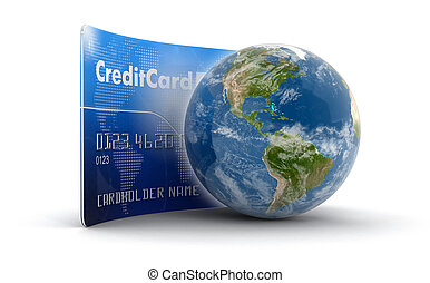 Credit Card and Globe Image with clipping path