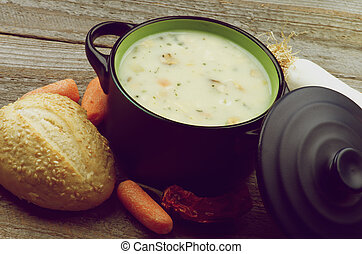Creamy Soup - Healthy Vegetable Creamy Soup with Raw...