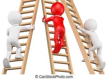 3D white people. Businessmen climbing a wooden ladder - 3d...