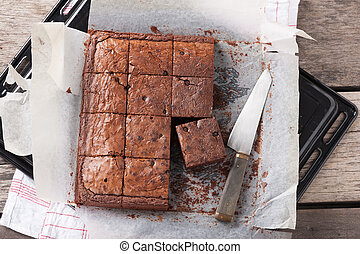 Brownie - Fresh brownie in tray