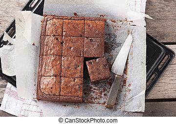 Brownie - Fresh brownie in tray