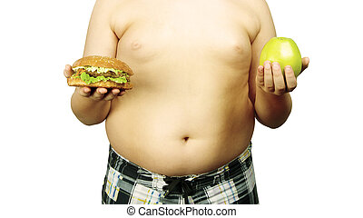 food Choices - full guy holding a hamburger and an apple