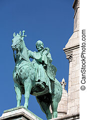 Paris - Equestrian Statue of Saint Louis on basilica Sacre...