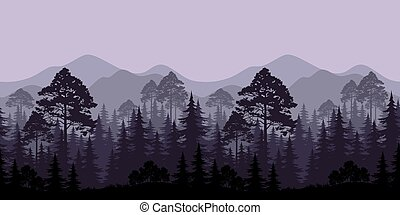 Seamless Landscape, Trees and Mountain Silhouettes -...