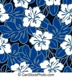 Hibiscus flowers and tropical leaves in a seamless pattern