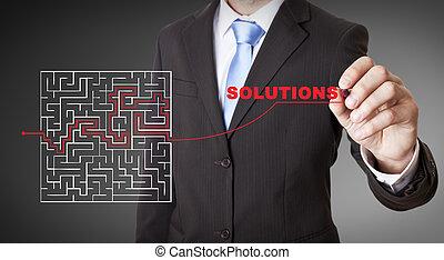 Businessman maze concept - Businessman drawing a maze on a...