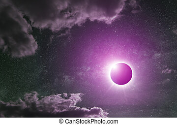 Eclipse on the planet Earth - View of the sun during a full...