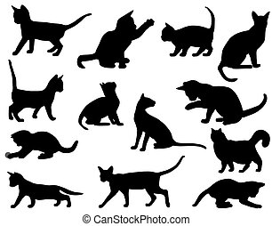 Silhouettes of cats - Collection of silhouettes of domestic...