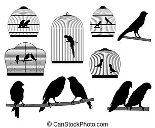 Bird in cage - Silhouettes of parrots and canaries in cages...