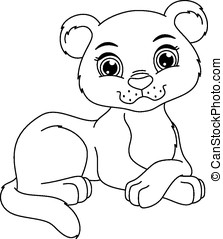 Panther Cub Coloring Page - Image of resting little panther...